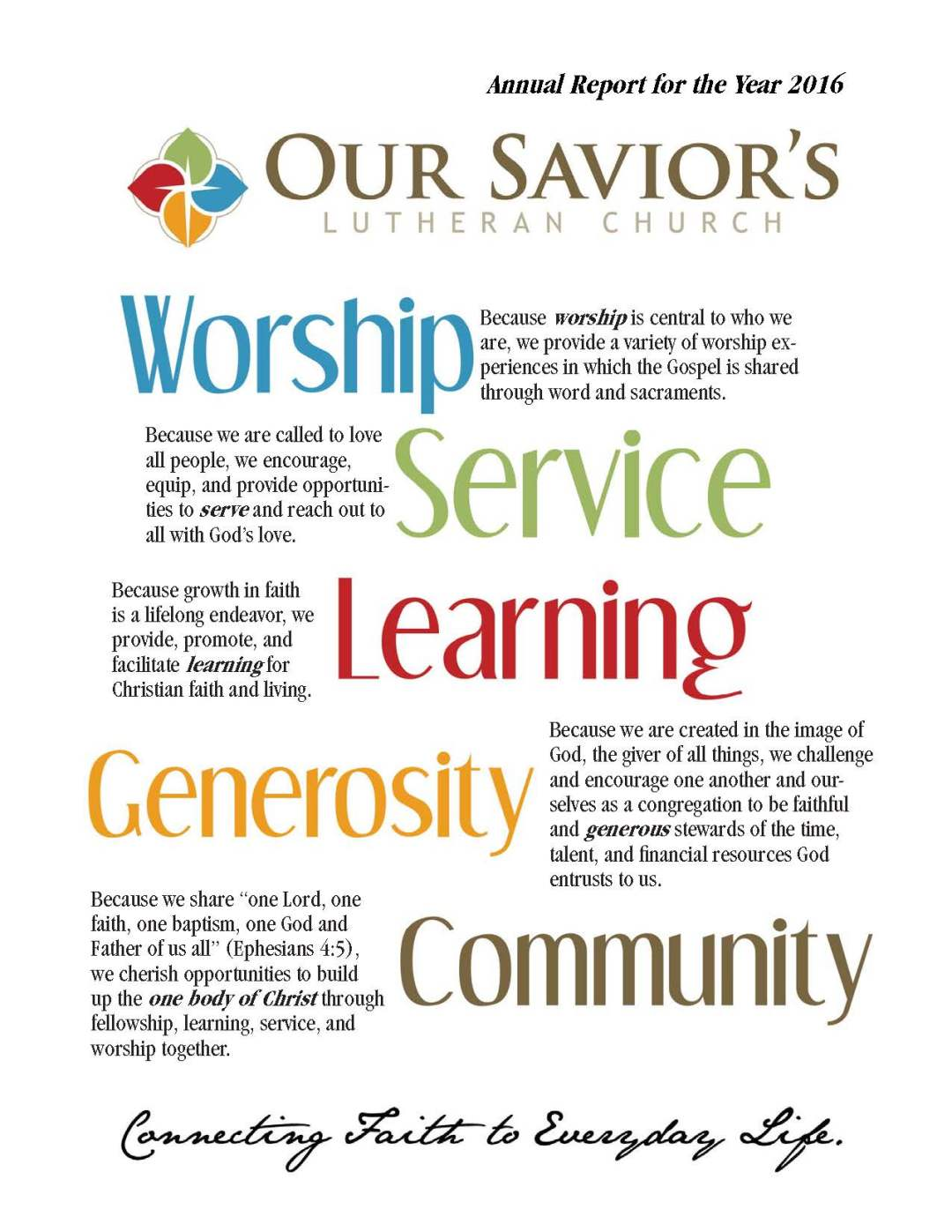Our Savior's Lutheran Church Annual Report cover