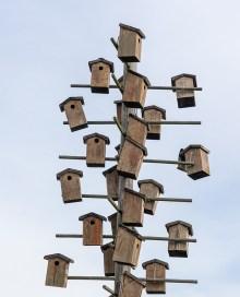 Photo of gray birdhouse