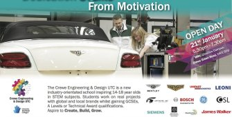 Crewe Engineering and Design UTC promotional flyer for student admission