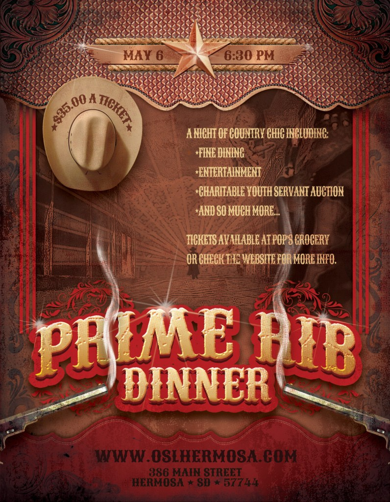 May 6 Prime Rib Dinner Pre-Sale VIP Tickets Until Wednesday March 30th