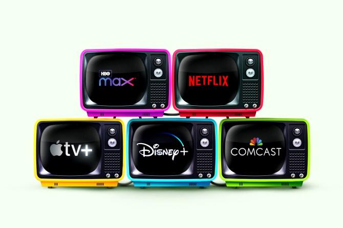 TVs showing streaming platforms