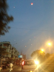 The first glimpse of lanterns as we pull into Paresh's apartment