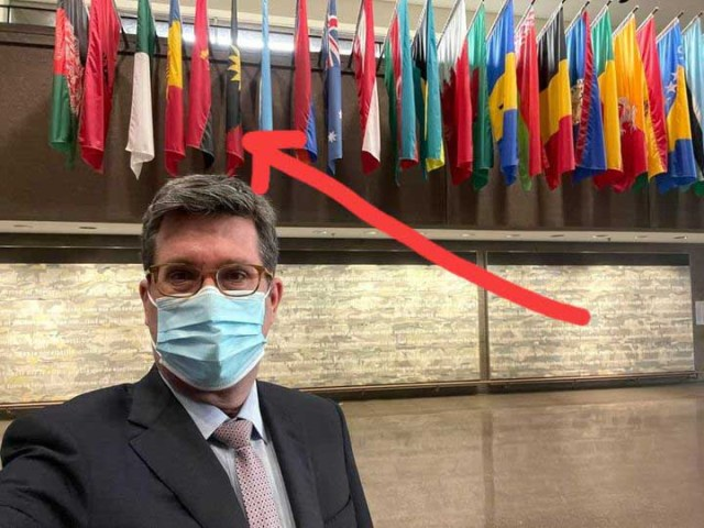 Canadian Diplomat Nicolas Simard Represents Biafran Flag In His Office