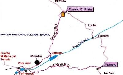 rio celeste -mapa - sendero