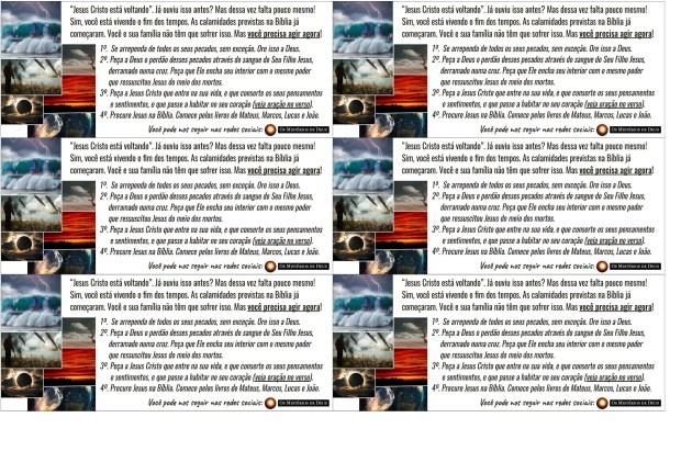 6 Folhetos (Só a frente) - OsMisteriosDeDeus