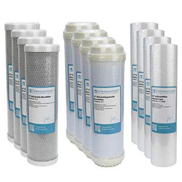 "2 Jahre Filter Set 10"" 12-teilig Ersatzfilter Umkehrosmose RO Sediment Aktivkohle - 1"