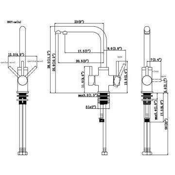 3 Wege Trinkwasserhahn Armatur für Wasserfilter Wasserhahn, CREA Küche Küchearmatur Hebel 3 in 1 Mischbatterie Spüle Filtersystem Spültischarmatur, RO Wasserkran Spülbeckenarmatur - 5