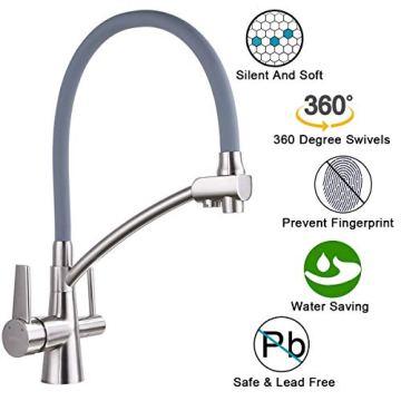 GAPPO Wasserhahn für Küche Küchenarmatur mit Brause 3 Wege Wasserhahn Wasserfilter gebürstet Nickel 360 Schwenkbereich, Grau, MEHRWEG - 2