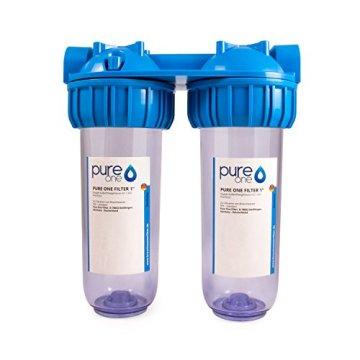PureOne AKS2 Antikalk-Set. Doppel Filteranlage 10 Zoll. Entkalkung bzw. Wasserenthärtung. Ionentauscher Resin. Filtergehäuse plus AK Resin Filterkartusche. Für Zisterne, Brunnenwasser - 2
