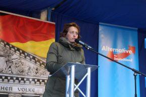 Beatrix von Storch auf dem Rathausvorplatz | Foto: Henning Hünerbein