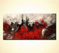 Painting for sale - red abstract painting dark white ...