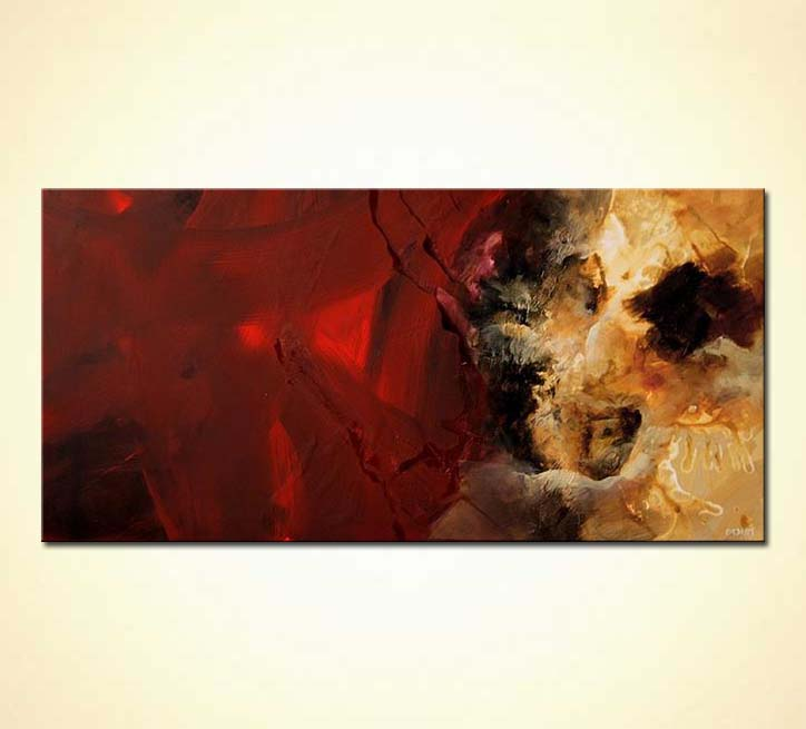 Painting for sale  horizontal red abstract soft art