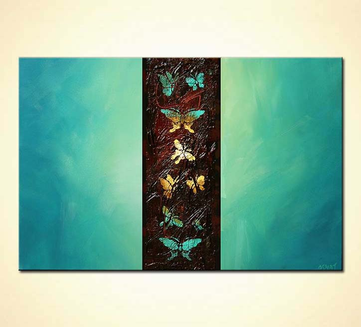 Painting for sale  butterflies on turquoise background 5691