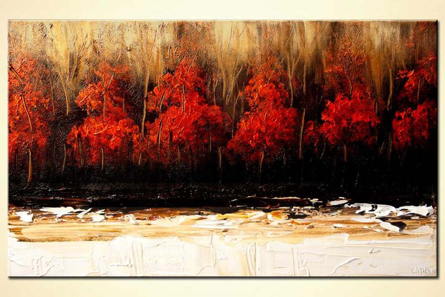 Buy forest of red trees wall decor landscape 5953