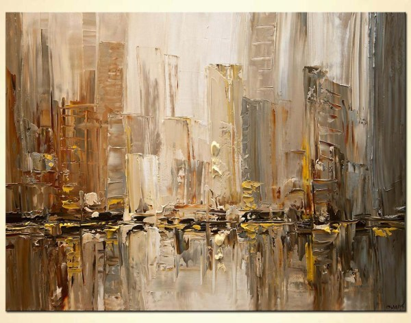 Painting - Original Contemporary City Abstract Modern Palette Knife #7791