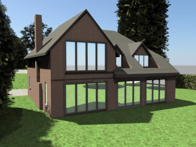 3D house back view
