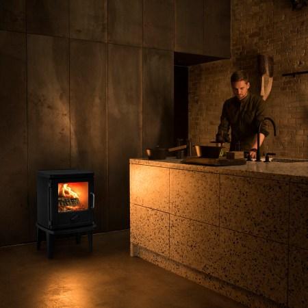 Morso 3116 wood burning stove in a bar