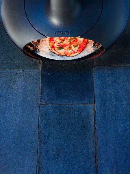 Photo of a Pizza cooking in a Morsø Forno Outdoor Oven
