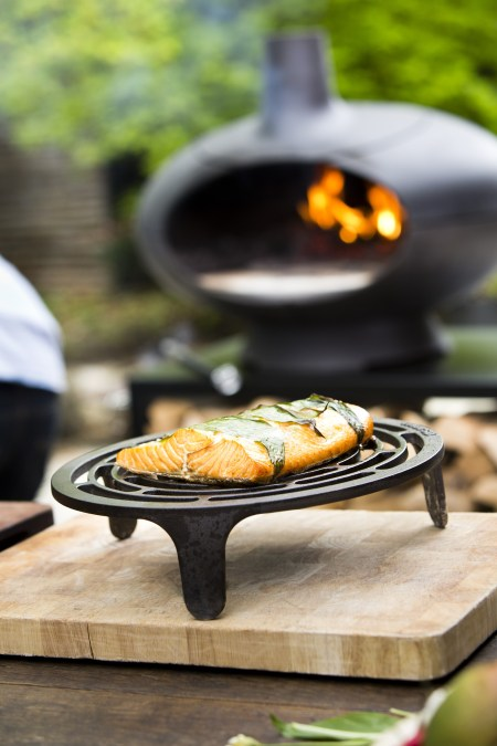 Cooking fish on tuscan grill