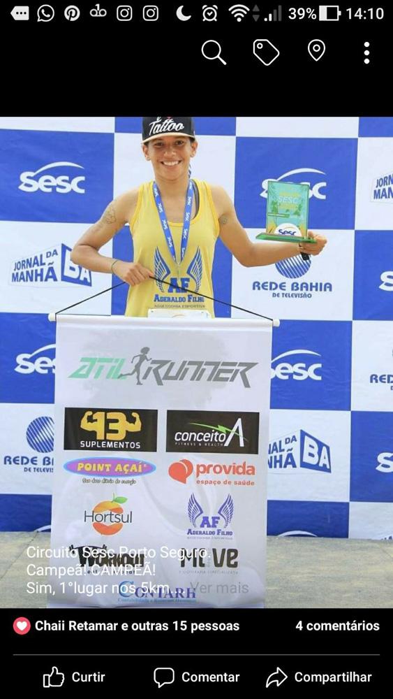Parabéns para atleta e enfermeira, Atilene Santos Ribeiro, que participou da corrida do Sesc em Porto Seguro e ficou em primeiro lugar nos 5km aberto feminino