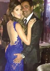 A belíssima psicóloga Larissa Morais ao lado do seu esposo, Flávio Lucas Sarlo Machado, em momento de comemoração na noite de gala