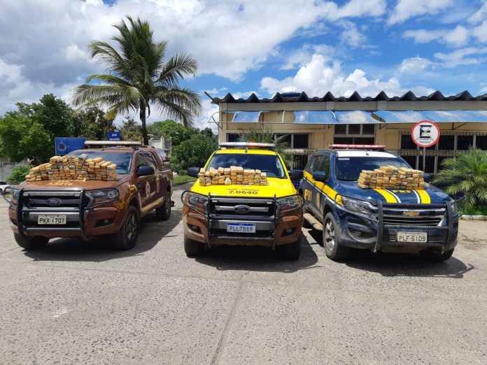 PRF, PRE e Rondesp Sul apreendem carro roubado e lotado de maconha