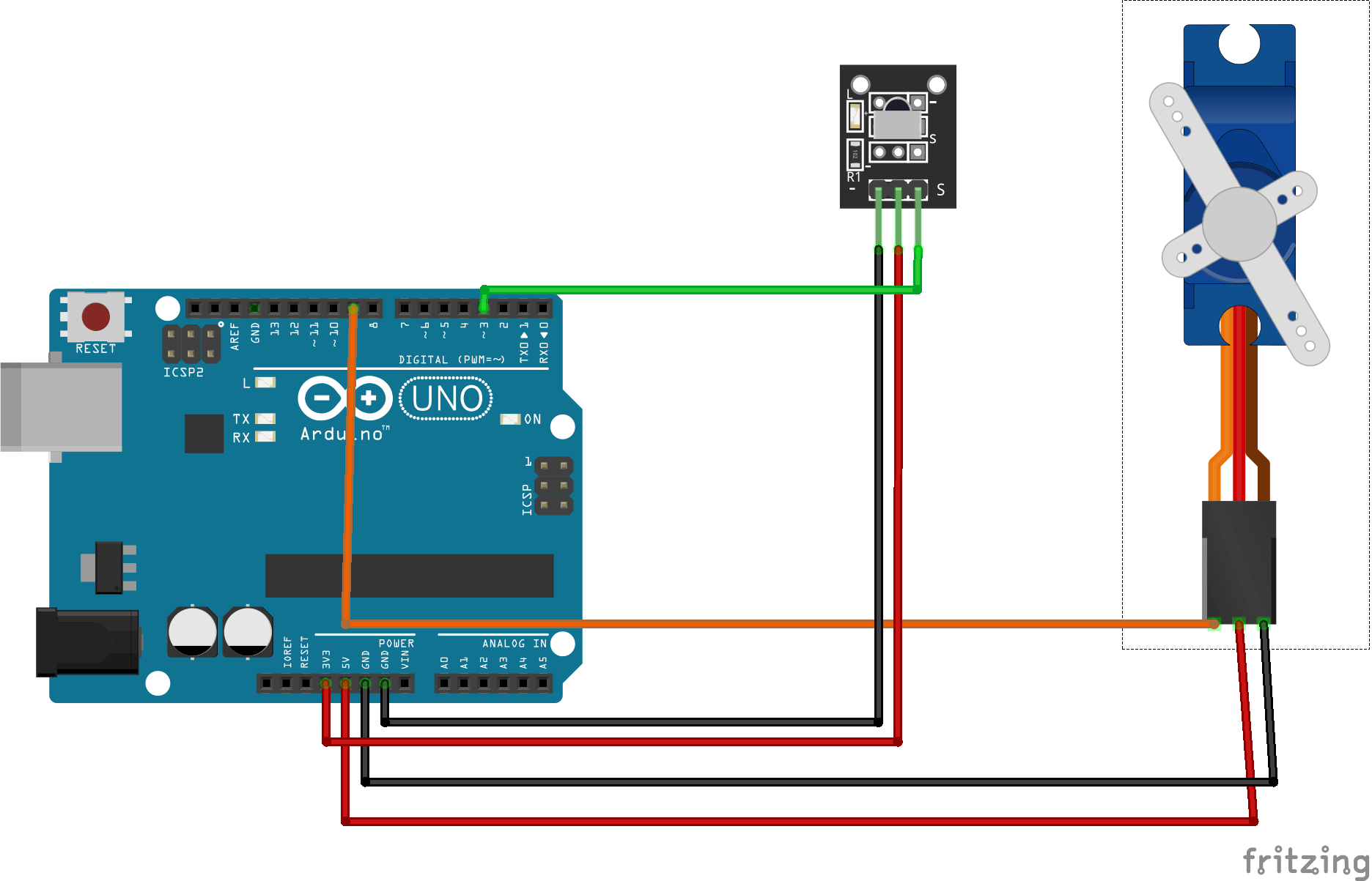 hight resolution of the wiring for the ir receiver and servo motor are shown in pictures follow the steps for wiring in the pictures