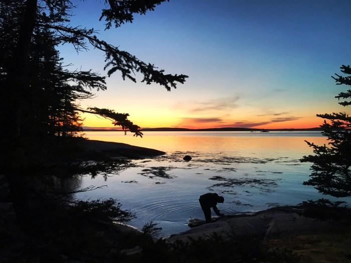 overnight sunset camping trip on steve's island near stonington maine