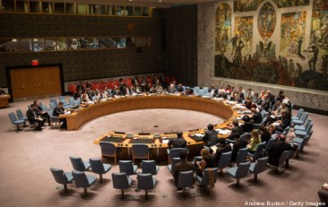 NEW YORK, NY - AUGUST 28: The United Nations Security Council (UNSC), meets about the ongoing Ukrainian-Russian conflict on August 28, 2014 in New York City. Russia continues to move troops and men into Ukraine to arm Ukrainian separatists. (Photo by Andrew Burton/Getty Images)