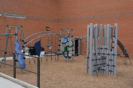 Just one of the many outdoor play spaces for students to keep moving.