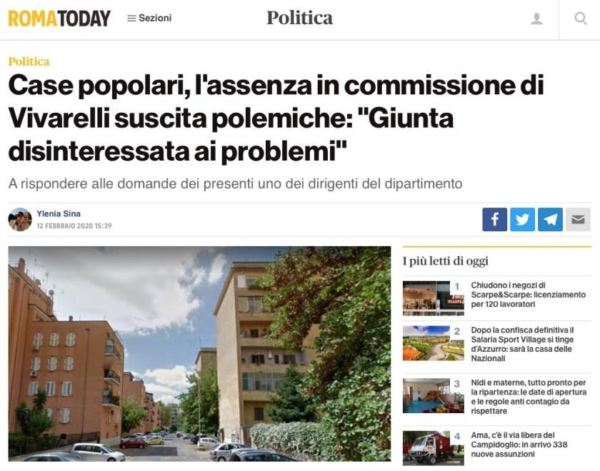 """Case popolari, l'assenza in commissione di Vivarelli suscita polemiche: """"Giunta disinteressata ai problemi"""" di Ylenia Sina"""