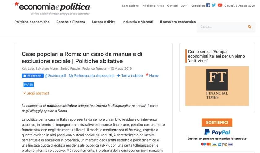 Case popolari a Roma: un caso da manuale di esclusione sociale | Politiche abitative Keti Lelo, Salvatore Monni, Enrico Puccini, Federico Tomassi
