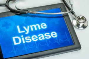 Tablet with the diagnosis Lyme Disease on the display