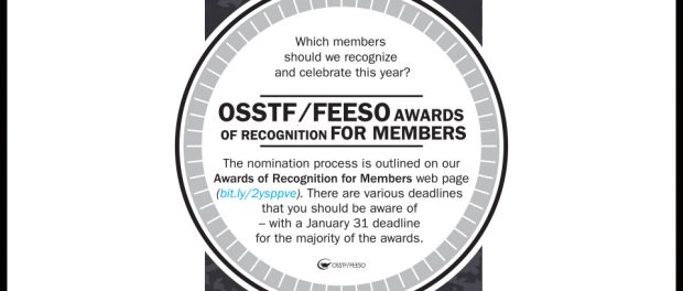 OSSTF/FEESO awards of recognition for members