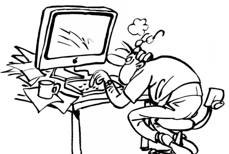 Illustration d'un employé surmené devant son ordinateur. Le stress au travail le guette.