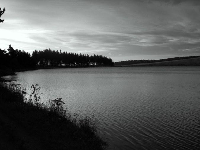 Photo noir et blanc du lac Servière, puy de Dôme.