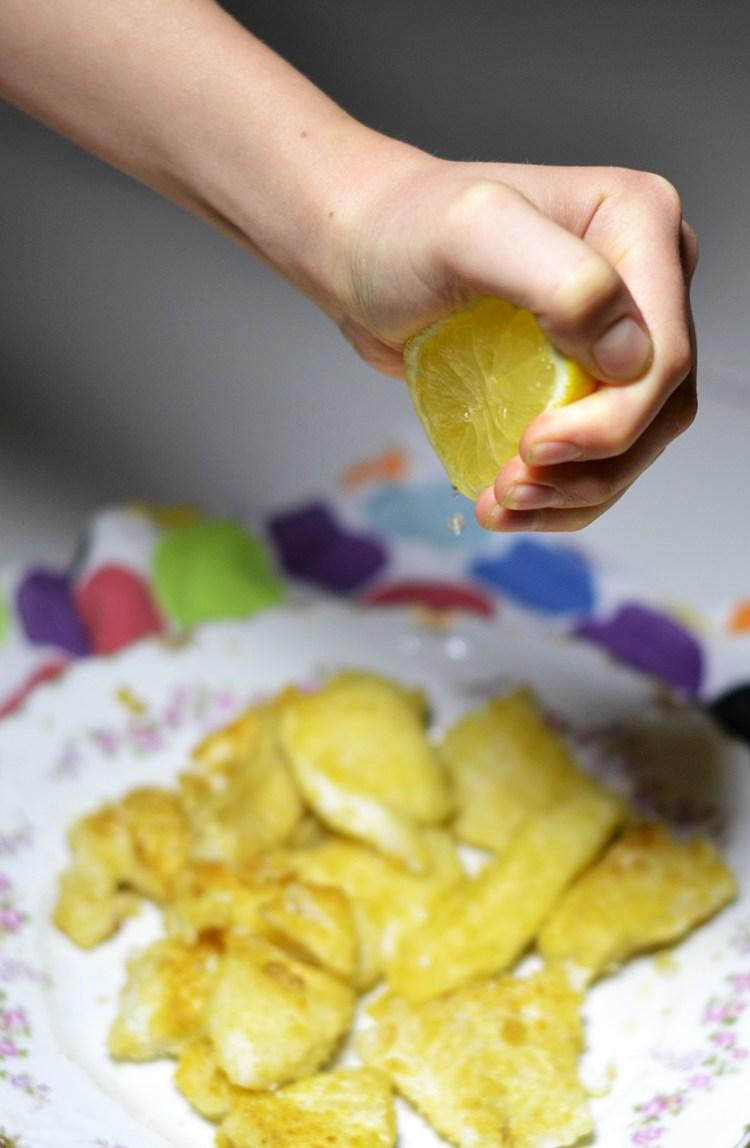 Citronsaft på torsk