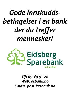 Eidsberg Sparebank har gode innskuddsbetingelser - en bank der du treffer mennesker!