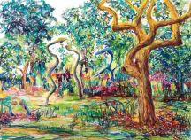 Paradiesgarten I, Pastelle auf Bütten, 40 x 53 cm, 2021