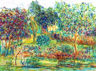 Paradiesgarten IV, Pastelle auf Bütten, 40 x 53 cm, 2021