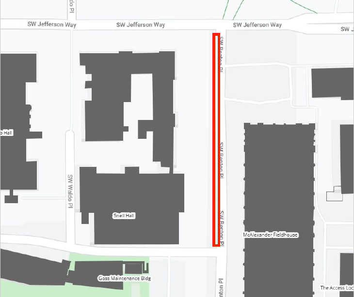 Parking closure on Benton Place