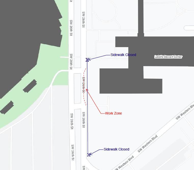 Map of sidewalk closure along SW 26th Street, Corvallis, Oregon