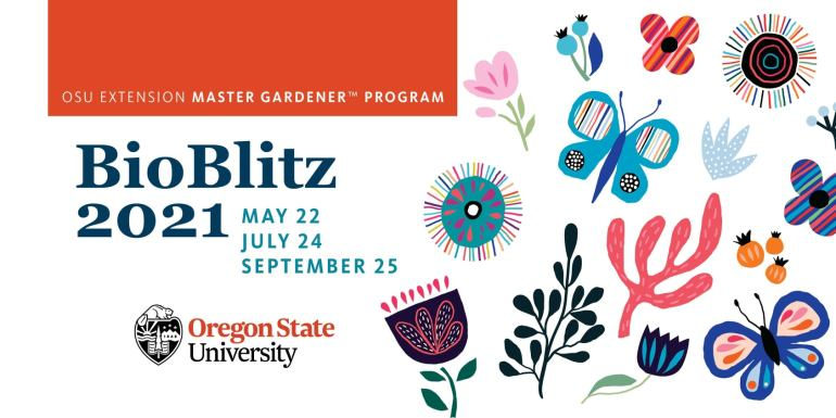 Promotional graphic for OSU Master Gardener Bio Blitz May 22, July 24, September 25. with flowers, butterflies, leaves.