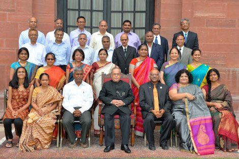 Note: The group picture of Dean Pantula along with his ISI classmates and their families was taken in the Moghul Gardens. Dean Pantula's daughter Asha and his wife Sobha are pictured here, bottom row on the far left.