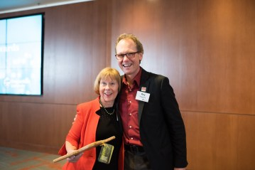 Distinguished Alumni Award winner Suzanne McGrath with Dean Roy Haggerty at the 2017 College of Science Alumni Awards.