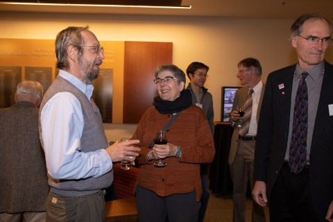 (L to R) Mathematician Tevian Dray, physics Head Heidi Schellman and physics Professor David McIntyre