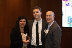 Biochemistry Professor Elisar Barbar, Justin Hall and Biochemistry Head Andrew Karplus