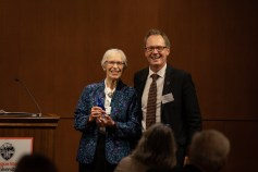 Dean Roy Haggerty with Distinguished Alumni Award winner Joan Countryman Suit