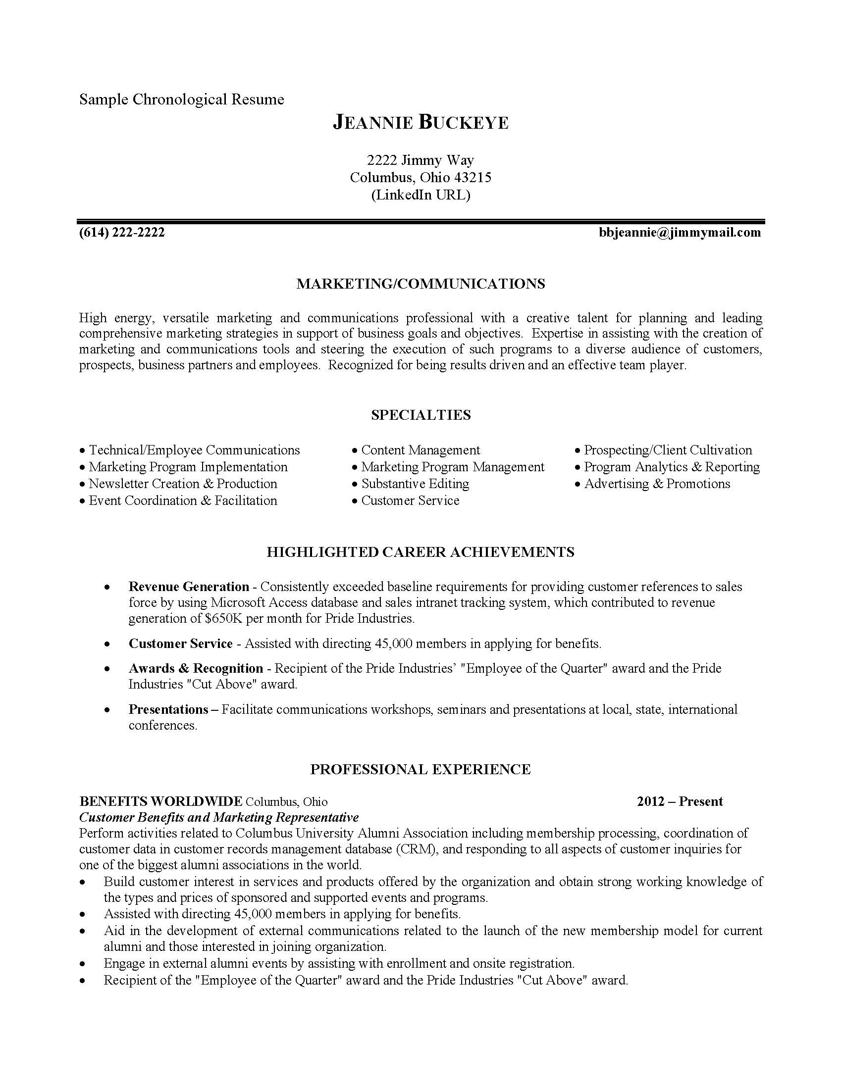 Business Management Resume Examples Resumes And Cover Letters The Ohio State University Alumni