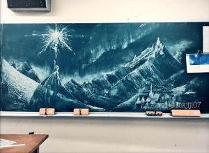黒板アート,れなれな,アナ雪
